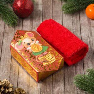 Полотенце Этель Мышка (конфета) красное